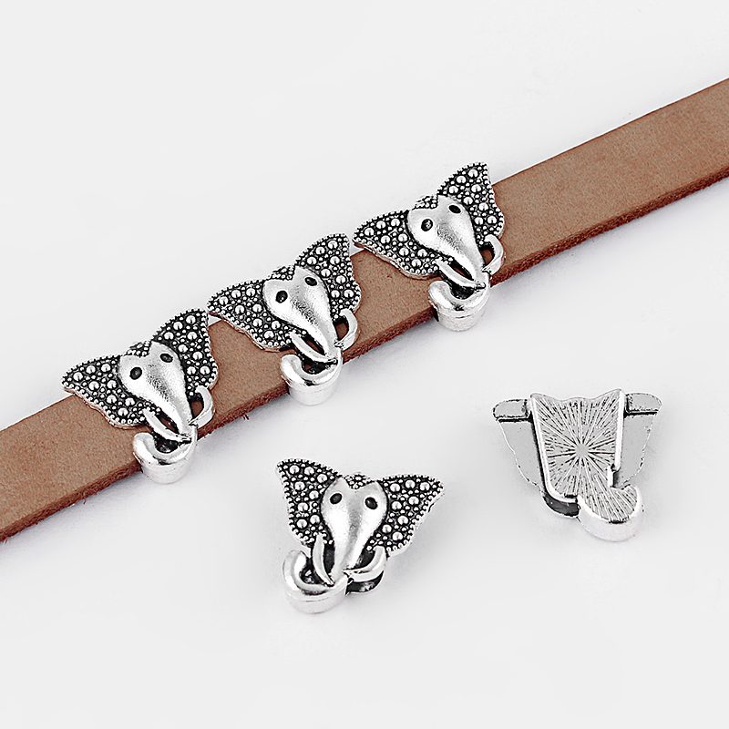 10pcs Antique Silver Elephant Head Charms Sliders Spacers Beads For 5mm 10mm Flat Leather Cord Bracelet Jewelry Findings 11x2mm