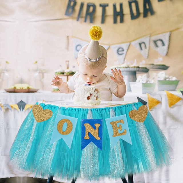 Baby First Birthday Blue Pink Chair Banner ONE Year 1st Party Decoration Boy Girl I