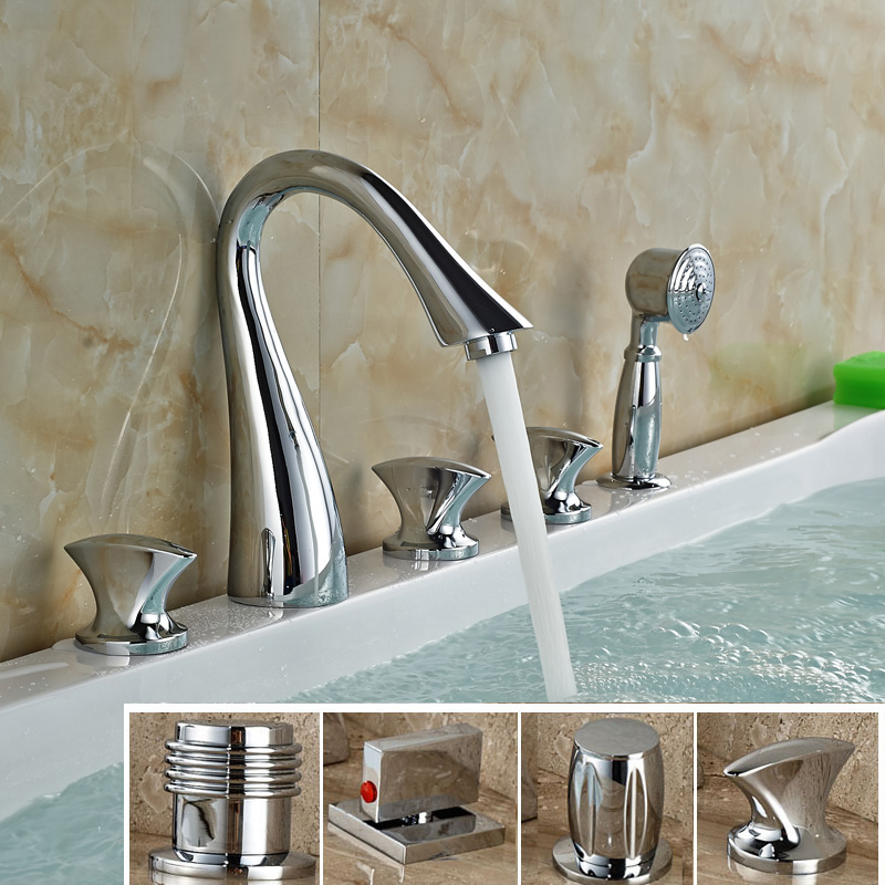 Chrome Brass Deck Mount Dide Bathtub Faucet Widespread Bathroom Tub Shower Mixer Taps