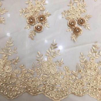 Champagne gold handmade 3d embroidery beaded African Tulle Lace Fabric 2019 good quality from factory