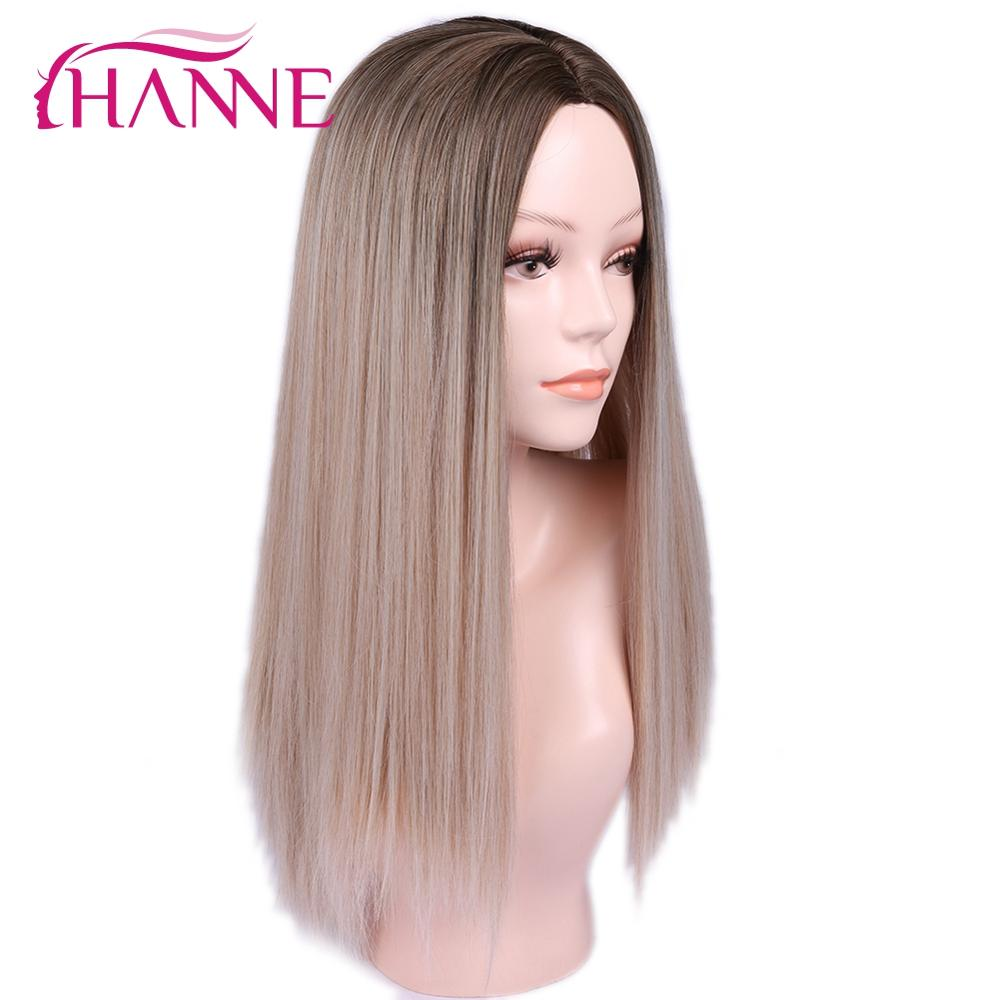 HANNE 24 Inch Ombre Blonde Wigs For Women Straight Wig Synthetic Blonde Long Wig Cosplay Heat Resistant Natural Hair Wigs
