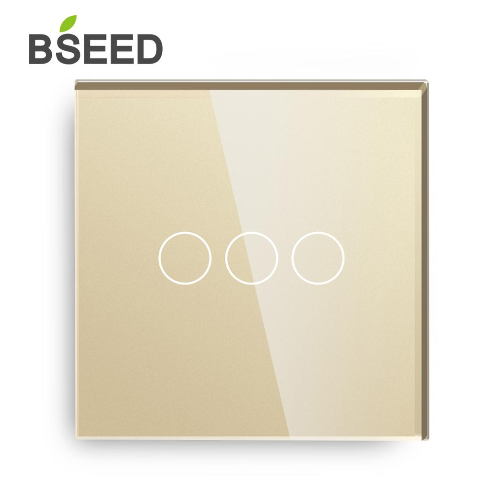 BSEED Touch Light Switch 3 Gang 1 Way Sensor With Crystal Glass Panel Colors Eu Uk 110v-240v