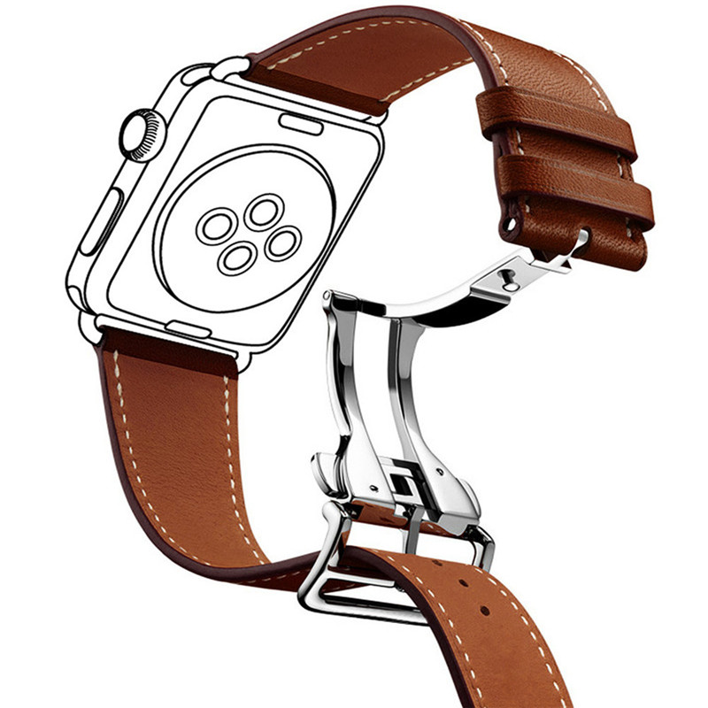 Genuine Leather Wrist Band for Apple Watch Bands 42mm 38mm Bracelet Strap for iWatch Metal Buckle and Folding Clasp Watch band