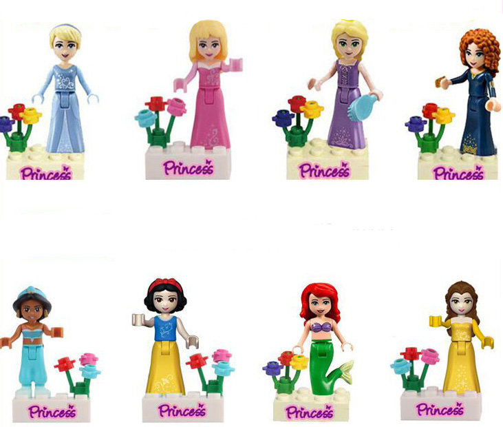 Girl Princess Figure Mermaid Snow White Belle Jasmine Cinderella Princess Blocks Compatible Friends Figurines 8pcs in Blocks from Toys Hobbies