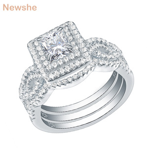 Image 1 - Newshe 3Pcs Wedding Rings For Women Trendy Jewelry 2.4 Ct Princess Cut White CZ 925 Sterling Silver Engagement Ring Set JR5256