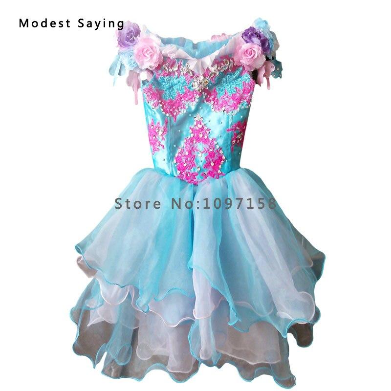 Prabangus mėlynas kamuolys suknelė karoliukas nėrinių gėlių - Suknelės vestuvėms - Nuotrauka 5