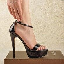 Onlymaker feminino peep toe plataforma stiletto sandálias única banda de couro patente tornozelo fivela cinta vestido de festa verão sandálias