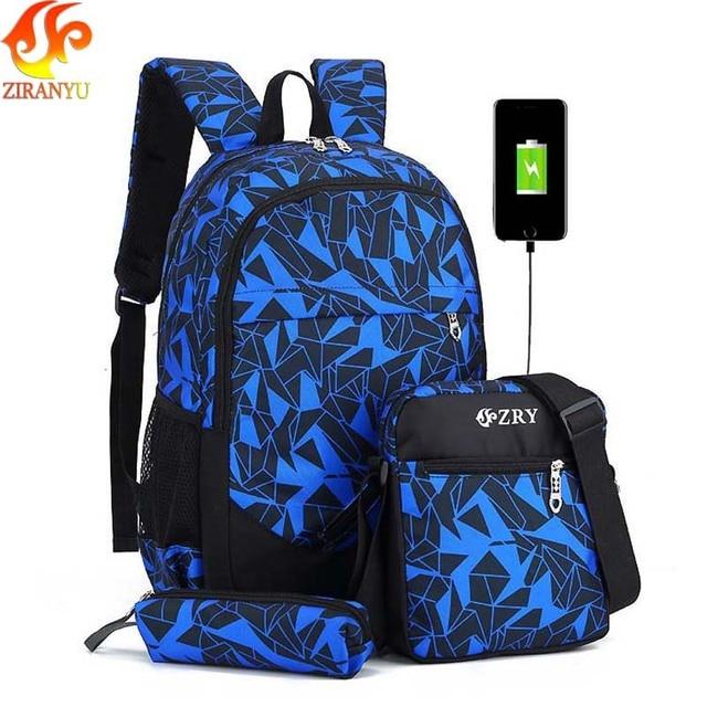 ZIRANYU мужской рюкзак для подростков школьные сумки для мальчиков Дети непромокаемые Оксфорд USB зарядка дизайн сумка мальчик школьный