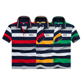 High quality Fashion men cotton shark polos business striped shark man brand clothing Tace & Shark polo shirt