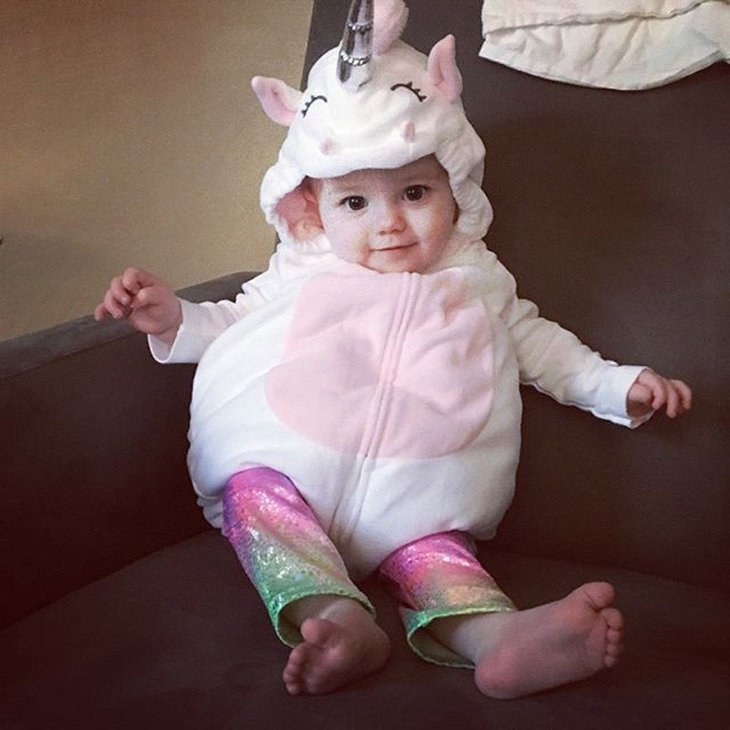 Unicorn Baby Boy Girls Cartoon Style Rompers Clothes Costume Kids Girls Romper Jumpsuit Outfits Fleece Clothes