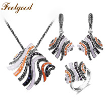 Feelgood Summer Style Silver Color Copper Jewelry Set Multicolor esmalte y negro Rhinestone Big Statement colgante collar conjuntos