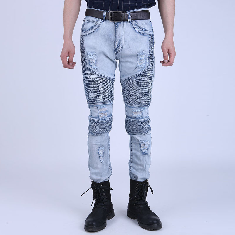 Runway Mens Super Skinny Slim Fit Motorcycle Jean Joggers Washed Vintage Ripped Hip Hop Elastic Denim Pants Biker Jeans For Men mens skinny jeans men runway distressed slim elastic jeans denim biker jeans hip hop pants washed pleated jeans blue