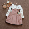 new Spring Long Sleeve Baby girls kids Children long sleeve cat neck t-shirt+ cotton tank Dress S4717