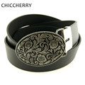 Unisex Retro Vintage Western Oval Metal Flower Belt Buckles Black PU Leather Belts For Men Women Clothing Fivela De Cinto Flores
