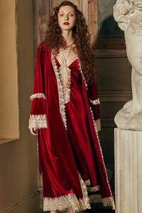 Image 2 - Conjunto de robe romântico para mulheres, camisola de inverno, vestido de noite, roupa de noiva elegante, vermelho, vintage
