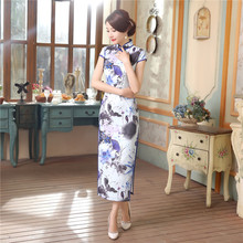 Plus Size XXXL Chinese Style Women Vintage Satin Long Cheongsam Qipao Novelty Print Flower Summer Dress S M L XL XXL XXXL C0051