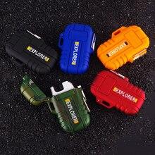 5484188dc للماء الإلكترونية ولاعة السجائر USB شحن مزدوج نابض قوس مع الحبل ل الرياضة  في الهواء الطلق