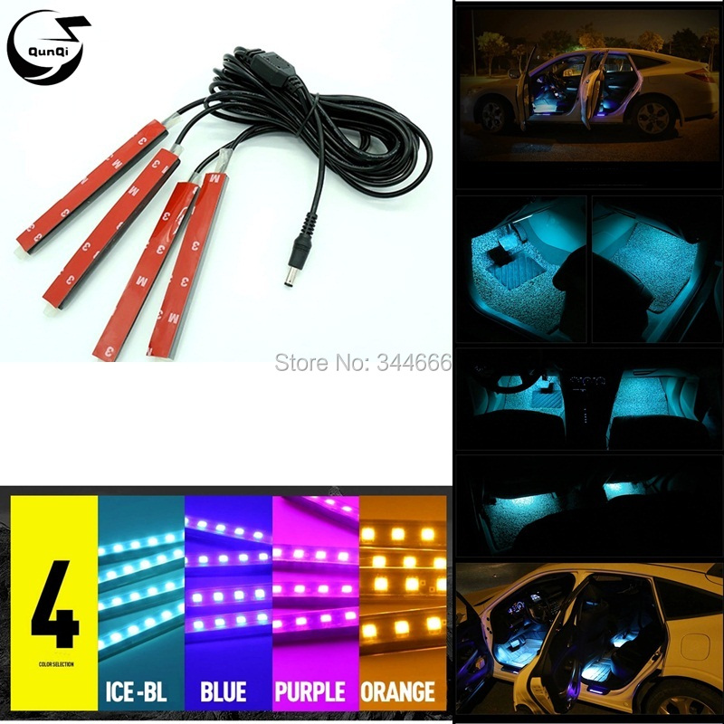 4 Colors in1 12V Car Styling LED Decorative Mood Foot Light Colorful Led Cars Charge Interior Atmosphere Daytime Running Lamp
