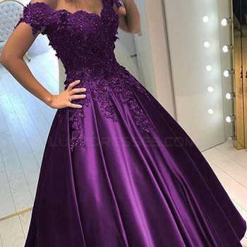 Off-the-Shoulder Purple Long Lace Prom Dresses Ball Gown 3D Lace Flowers Satin Evening Gowns vestido de festa longo - DISCOUNT ITEM  31 OFF Weddings & Events