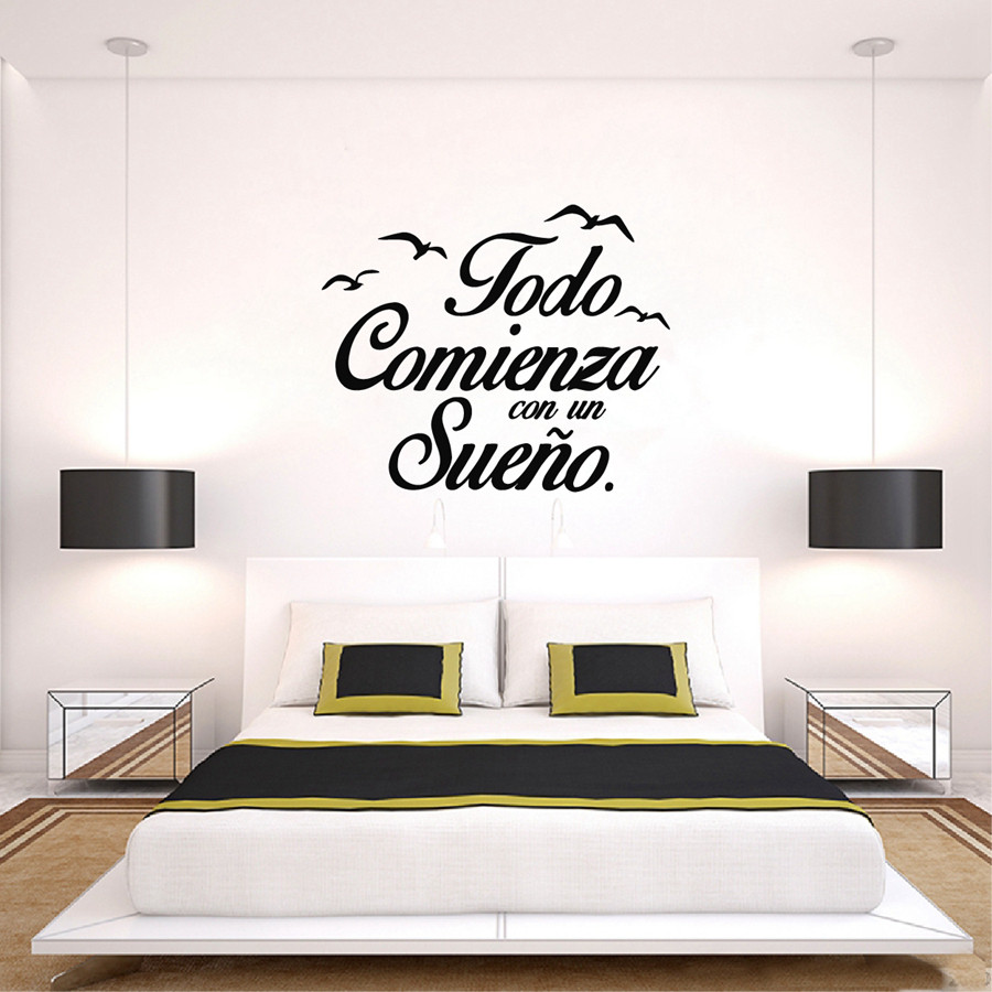 Superior Spanish Quote Vinyl Wall Stickers Bedroom Wall Decals Birds Removable Home  Decoration Self Adhesive Wallpaper Sticker D094