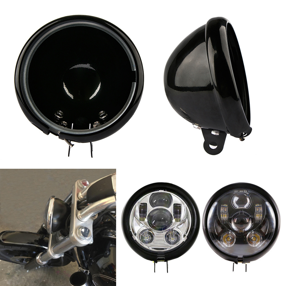 Mayitr 5.75 5 3/4 Round Motorcycle LED Headlight Housing Bucket Shell For Harley Motorcycle Headlamp Bracket Accessories 5 75 5 3 4 chrome headlight housing bucket for harley electra glide bad boy
