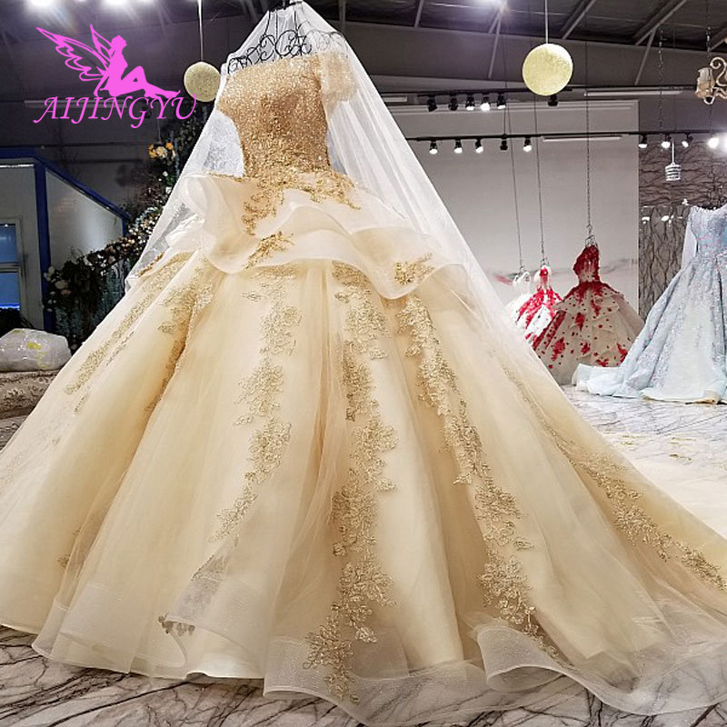 Image 5 - AIJINGYU Elegant Wedding Gown Gowns With Sheer Back Royal Sexy Online Usa Sheer 2018 Wedding Dress With SlitWedding Dresses   -