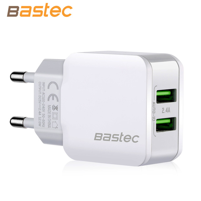 Bastec 5V 2.4A Smart Travel Dual USB Charger Adapter Wall Portable EU Plug Mobile Phone Charger for iPhone Samsung Xiaomi Tablet