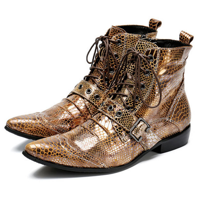 Kaeve cuir hommes chaussures bottines pantoufle bout pointu chaussures à lacets hommes militaires Cowboy bottes sangle Cool côté Zip appartements