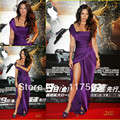 Megan Fox Tokyo transformers revenge of the fallen purple one shoulder side slit satin floor length long celebrity dress CD029