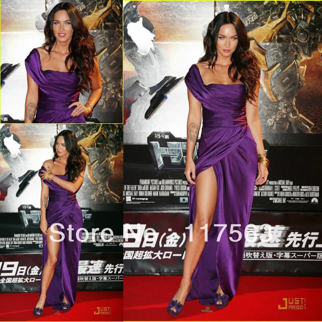 Megan Fox tóquio transformers a vingança dos derrotados roxo de um ombro side slit satin andar de comprimento vestido longo celebridade CD029
