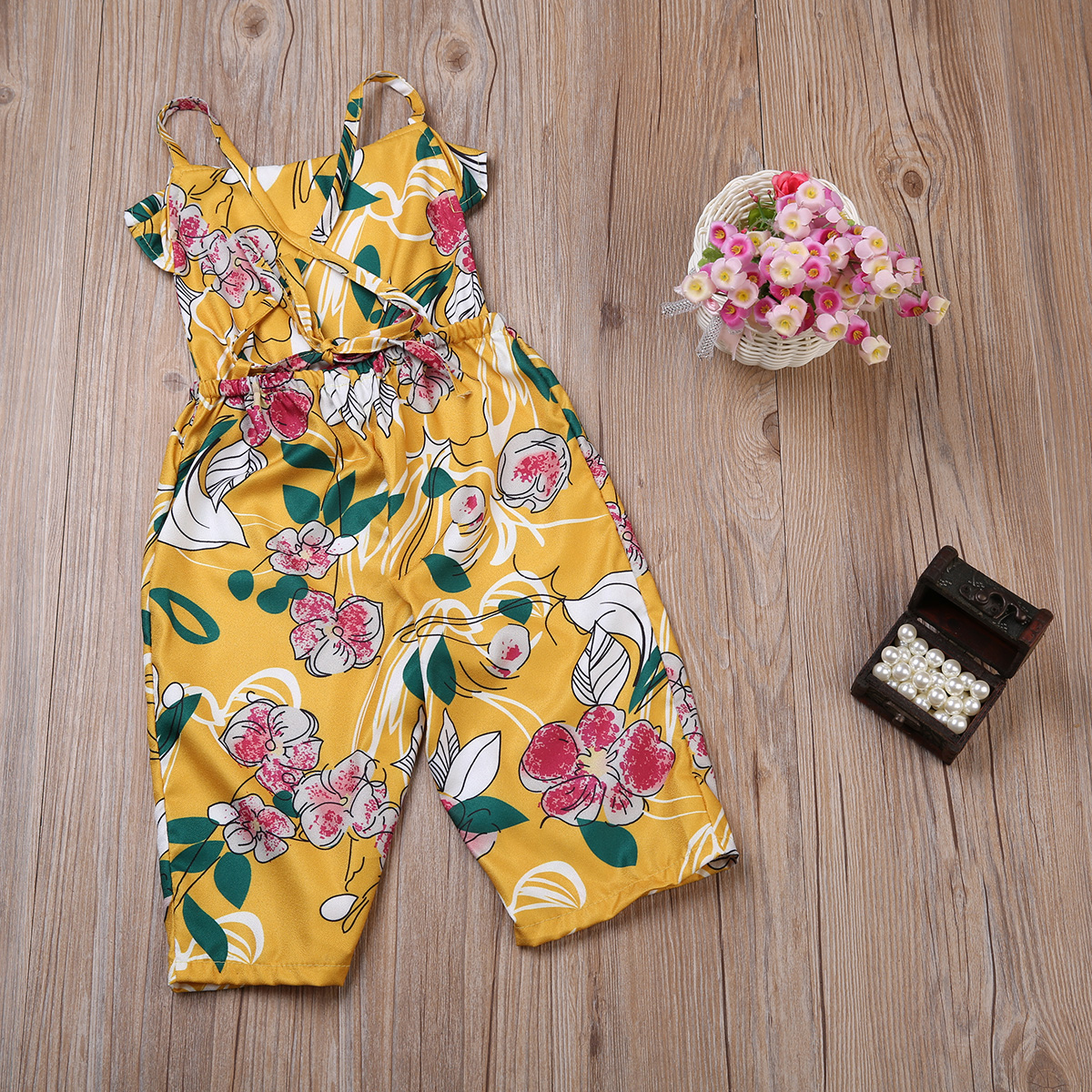 8f5f6b32854c Adorable Infant Toddler Kid Baby Girl Yellow Backless Floral Romper  Jumpsuit Playsuit Outfit Clothes Set 3 7Y-in Rompers from Mother   Kids on  ...