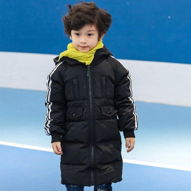Вниз Пальто С Капюшоном Полный Рукав Ветровки мальчики зимняя куртка Длинные Дети детские Теплые Молнии Детской Одежды 10015