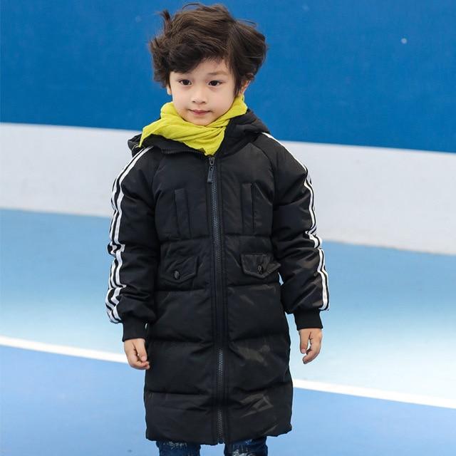 Down Coat Hooded Full Sleeve Parkas boys winter jacket Long Children Kids Warm Zipper Clothes Children 10015