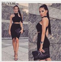 2017 Wholesale New Women Sexy Two Piece Set Red Black White High Neck Evening Party Bandage