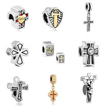 Slide charm free shipping DIY beads Cross pendant cross charm bead fit Pandora bracelet necklace Holiday gift(China)