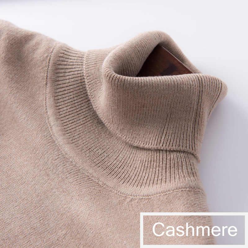 Suéter de cachemira Otoño Invierno 2019 jersey de cuello alto para mujer jersey básico de color sólido para mujer