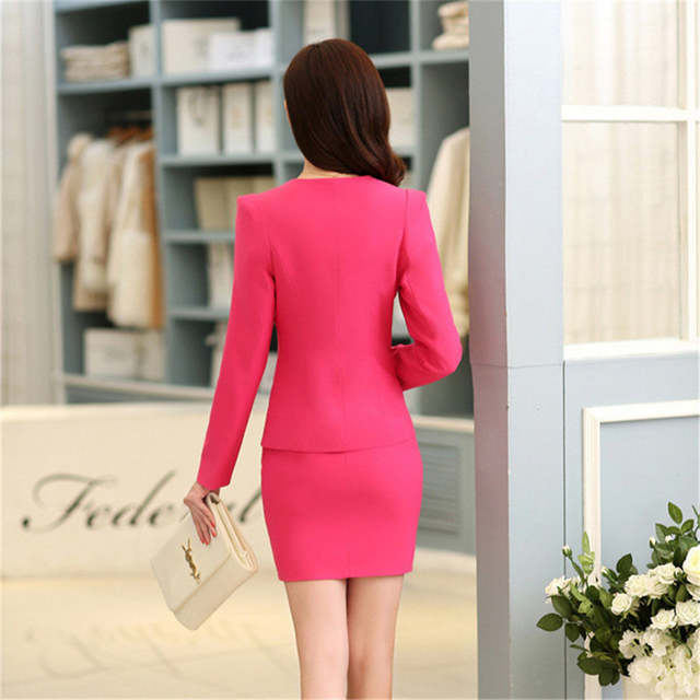 c72c7f49f52d Plus Size Candy Color Skirt Suits Summer Style 2016 Women Business Suits  Formal Office Suits Work
