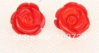 Ry00165 оригинальные серьги-гвоздики 12 мм с цветком из красного коралла
