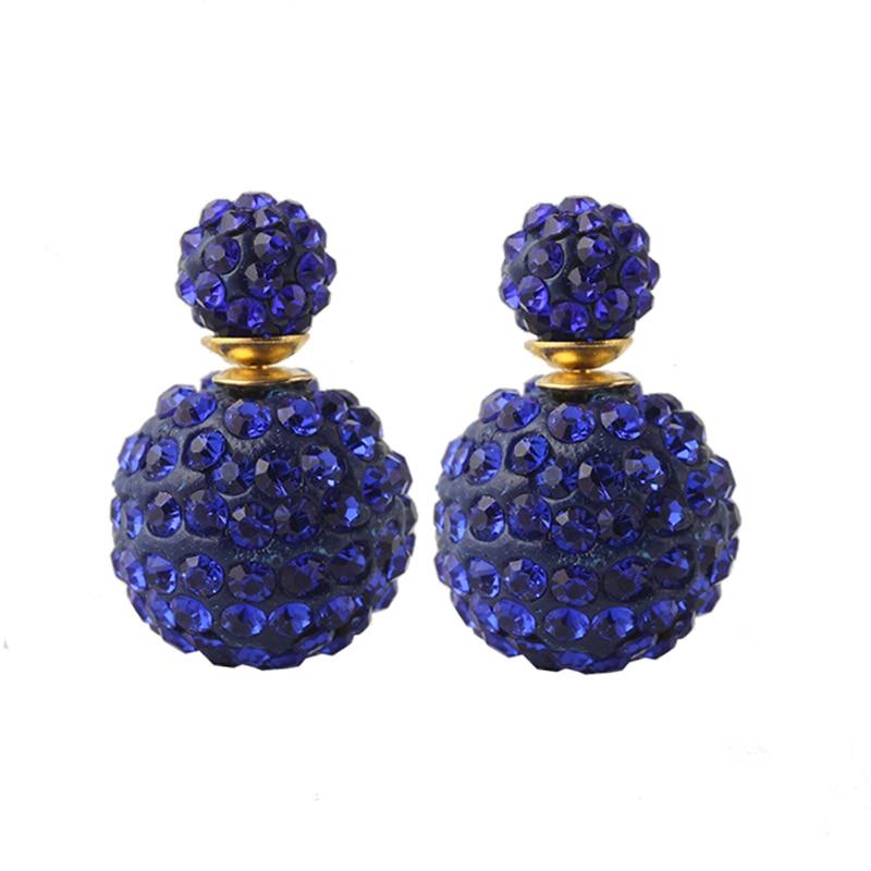 Wholesale! 2017 hot Sale new Arrival double sided earrings for women fashion Zirconia stud earrings Multi-colors E1360 - E1367.