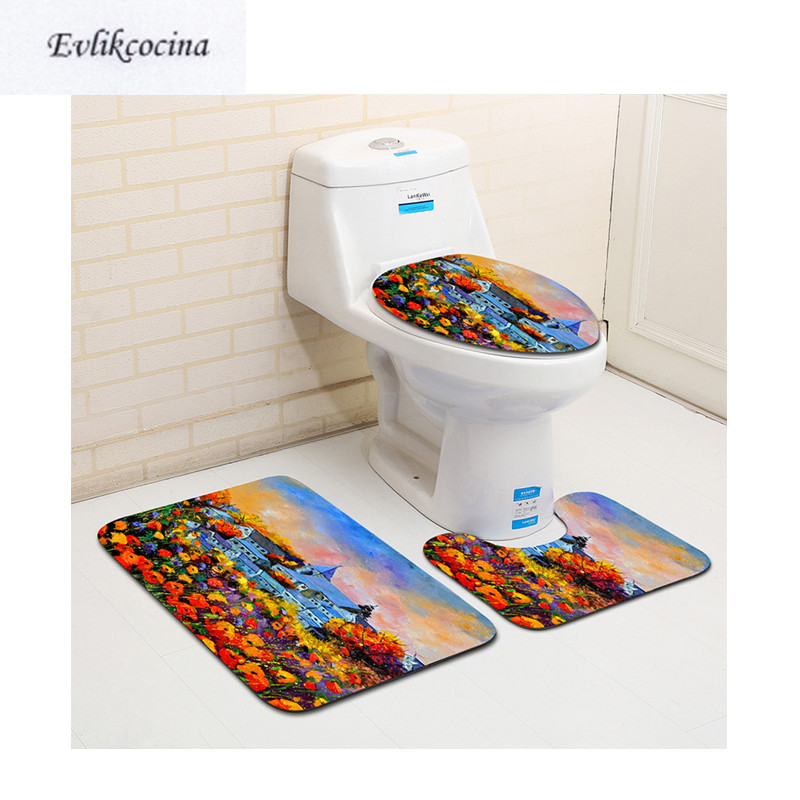 Free Shipping 3pcs Red Flowers Sea Banyo Paspas Bathroom Carpet Toilet Bath Mat Set Non Slip Tapis Salle De Bain Alfombra Bano