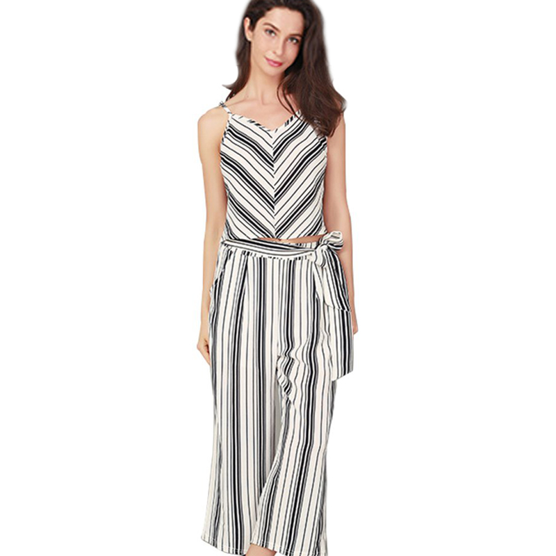 Summer <font><b>Two</b></font> <font><b>piece</b></font> <font><b>set</b></font> <font><b>Women</b></font> Fashion Striped Printing Bow Belt Casual <font><b>Crop</b></font> <font><b>Top</b></font> Trouser <font><b>Set</b></font> <font><b>2018</b></font> Beach <font><b>2</b></font> <font><b>piece</b></font> <font><b>set</b></font> <font><b>women</b></font> <font><b>Sexy</b></font> cloth image