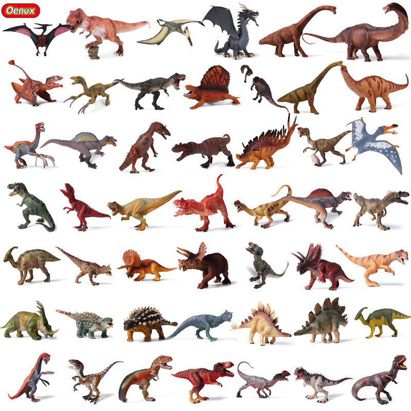 Oenux Original Prehistoric Dinosaur World Tyrannosaurus Therizinosaurus Spinosaurus Action Figures Jurassic Dinosaurs Model Toys oenux animals series action figures dinosaur marine animal bird wild animals original high quality model brinquedo toy for kids