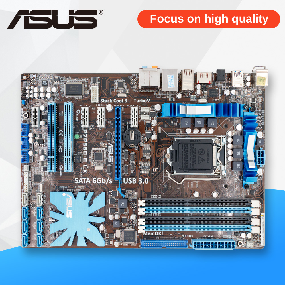 Asus P7P55D-E LX Desktop Motherboard P55 Socket LGA 1156 i3 i5 i7 DDR3 16G SATA3 USB3.0 On Sale ATX asus p8h67 m lx desktop motherboard h67 socket lga 1155 i3 i5 i7 ddr3 16g uatx on sale