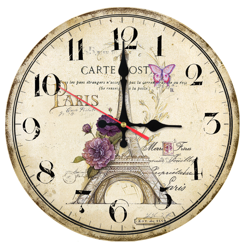 New Hot   Wall Clock Wooden Eiffel Tower Clocks Quartz Watch Modern Home Decor Circle Single Face Stickers For Living Room