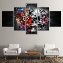 Canvas Painting Abstract art skull with flowers 5 Pieces Wall Art Modular Wallpapers Poster Print for living room Decor
