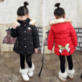Winter Girl Jaket Coat 2016 Fashion Cute Mickey Black Pink Purple Red Thick Warm Cotton Winter Outerwear & Coats 2-7 year