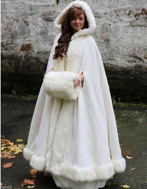 White Ivory Bridal Cape Wedding Cloaks Hooded With Faux Fur Trim Warm Winter For