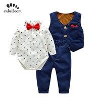 3 pcs/set Autumn 2019 New Fashion Baby Boys Clothes Set cotton rompers vest pant Long Sleeve infant boy Children Clothing sets