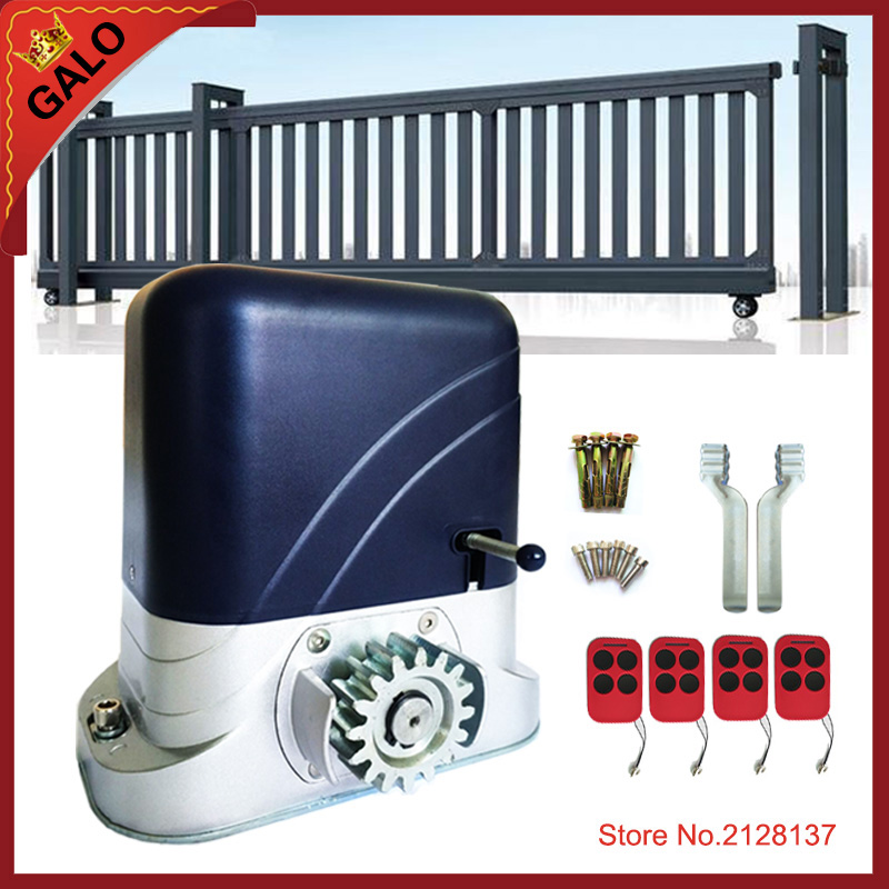 GALO 24VDC electrical automatic sliding gate door opener motor operator 500kg with 4 remote controllers heady duty 1000kgs to 1800kgs electrical automatic remote control sliding gate opener automatic sliding door closer gate closer