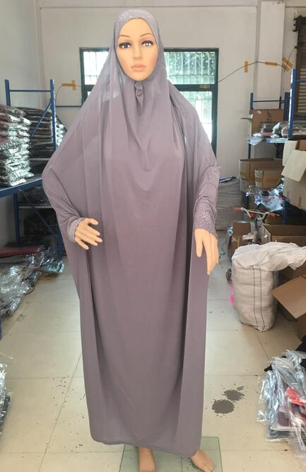H1188 latest big size muslim hijab with sleeve pray hijab like dress fast delivery mixed colors